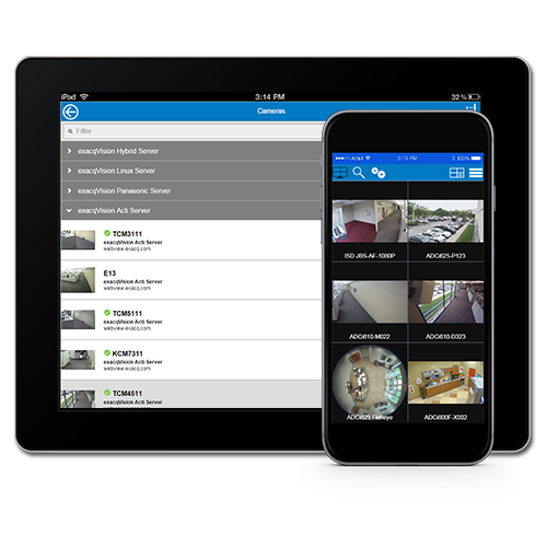 Exacq mobile video security app for iOS, Android, Kindle Fire and Windows Phone 8